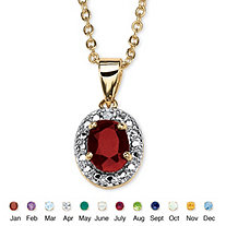18k Yellow Gold-Plated Birthstone Drop Pendant 18""