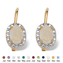 Oval-Cut Genuine Birthstone With a Diamond Accent Drop Earrings in 18k Gold-Plated