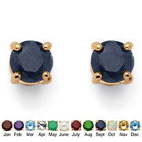 Round-Cut Genuine Birthstone 18k Yellow Gold-Plated Stud Earrings