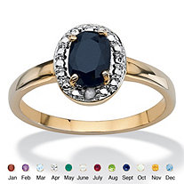 Oval-Cut Genuine Birthstone 18k Yellow Gold-Plated Ring