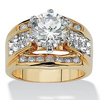 3.46 TCW Round Cubic Zirconia Crystal Accent 14k Yellow Gold-Plated Classic Ring