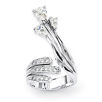 Pear Cut and Round Cubic Zirconia Platinum-Plated Crossover Ring