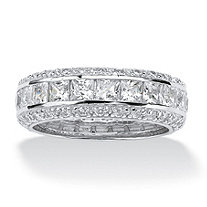 4.17 TCW Princess-Cut Cubic Zirconia Platinum over Sterling Silver Eternity Band Ring