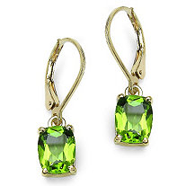 3.60 CT TW Octagon-Cut Peridot Drop Pierced Earrings in 14k Gold over Sterling Silver