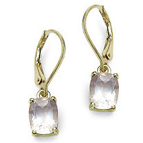 3.60 CT TW Octagon-Cut Rose Quartz Drop Pierced Earrings in 14k Gold over Sterling Silver
