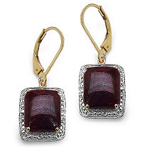 10 CT TW Octagon-Cut Ruby Drop Pierced Earrings in 14k Gold over Sterling Silver