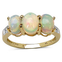 Opal and White Topaz Ring in 14k Gold over Sterling Silver