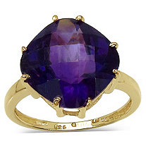 4.48 CT TW Cushion-Cut Amethyst Ring in 14k Gold over Sterling Silver