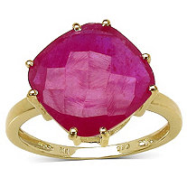5 CT TW Cushion-Cut Ruby Ring in 14k Gold over Sterling Silver