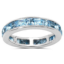 4.83 CT TW Blue Topaz Eternity Band in Platinum over Sterling Silver