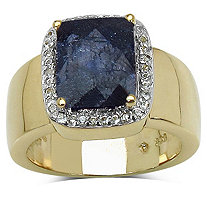 2.20 CT TW Cushion-Cut Sapphire and White Topaz Ring in 14k Gold over Sterling Silver