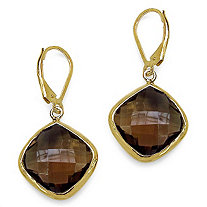 24 CT TW Cushion-Cut Smoky Quartz Drop Pierced Earrings in 14k Gold over Sterling Silver