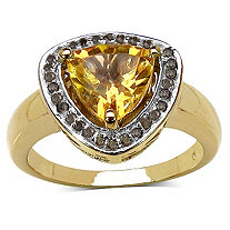 1.75 CT Trilliant-Cut Citrine and 1/7 CT Champagne Diamond Ring in 14k Gold over Sterling Silver