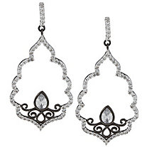1.86 CTW Round and Pear-Shaped Cubic Zirconia Openwork Free-Form Drop Pierced Earrings in Sterling Silver