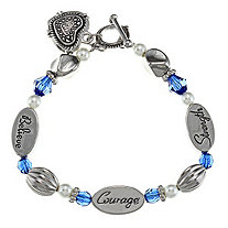 Blue Crystal and Simulated Pearl Inspirational Message Heart Charm Bracelet in Silvertone