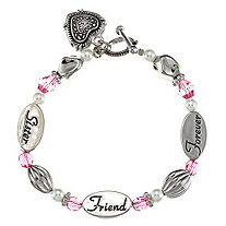 "Pink Crystal and Simulated Pearl ""Sister Friend Forever"" Heart Charm Bracelet in Silvertone"