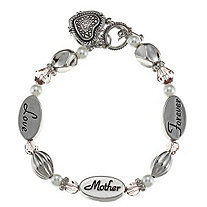 Grey Crystal and Simulated Pearl Mother Heart Charm Bracelet in Silvertone
