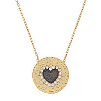 .25 CTW Cubic Zirconia Heart Hammered Disc Pendant-Necklace in 14k Gold over Sterling Silver