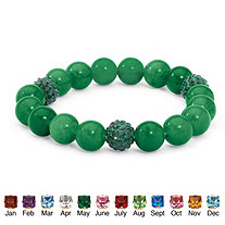Jade and Crystal Accent Bead Birthstone Stretch Bracelet 8""