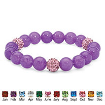 Agate and Crystal Accent Bead Birthstone Stretch Bracelet 8""