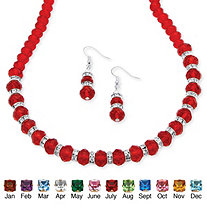 Birthstone Beaded Necklace and Earrings Set in Silvertone