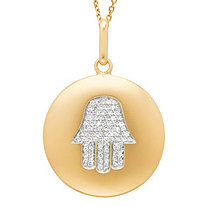 Diamond Accent Hamsa Hand Disk Pendant in 14k Yellow Gold over Sterling Silver