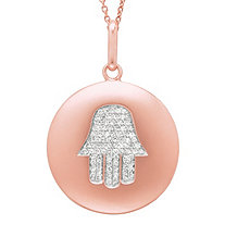 Diamond Accent Hamsa Hand Disk Pendant in Rose Gold over Sterling Silver