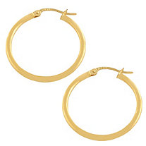 10k Gold Tubular Hoop Pierced Earrings