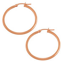 14k Rose Gold Hoop Pierced Earrings