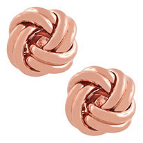 10k Rose Gold Love Knot Stud Pierced Earrings