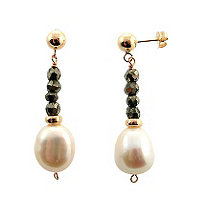 Cultured Freshwater Pearl and Pyrite Earrings in Sterling Silver with a Golden Finish