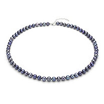 Black Cultured Freshwater Pearl Necklace in Sterling Silver 7mm