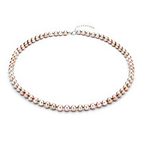 Pink Cultured Freshwater Pearl Necklace in Sterling Silver 7mm