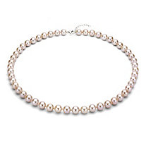 Pink Cultured Freshwater Pearl Necklace in Sterling Silver 9mm