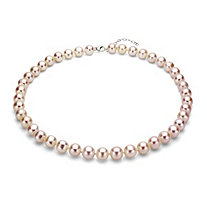 Pink Cultured Freshwater Pearl Necklace in Sterling Silver 11mm