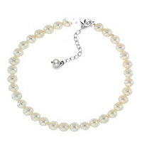 White Cultured Freshwater Pearl Bracelet in Sterling Silver 7mm