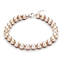 Pink Cultured Freshwater Pearl Bracelet in Sterling Silver 7mm