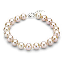 Pink Cultured Freshwater Pearl Bracelet in Sterling Silver 9mm