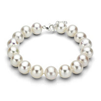White Cultured Freshwater Pearl Bracelet in Sterling Silver 11mm