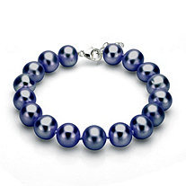 Black Cultured Freshwater Pearl Bracelet in Sterling Silver 11mm