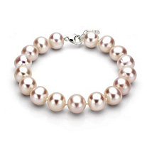 Pink Cultured Freshwater Pearl Bracelet in Sterling Silver 11mm