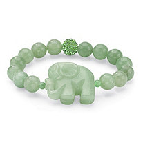 Green Jade Elephant and Crystal Beaded Stretch Bracelet 8 ö