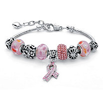 Pink Crystal Bali-Style Beaded Charm and Spacer Bracelet in Silvertone Metal