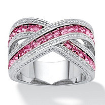 2.52 TCW Pink Princess-Cut Cubic Zirconia Crossover Ring in Silvertone