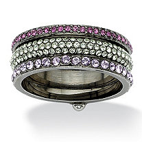 Multi-Colored Round Crystal Eternity Stack Rings in Black Rhodium-Plated