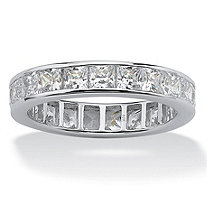 5.29 TCW Princess-Cut Cubic Zirconia Eternity Band in 10k White Gold