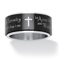 Men's Serenity Prayer Cross Ring in Black IP Stainless Steel and Stainless Steel
