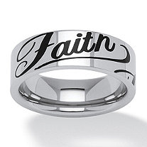 Faith Ring in Black IP Stainless Steel