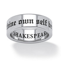 To Thine Own Self Be True Ring in Stainless and Black IP Stainless Steel