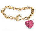 Crystal Heart Charm Birthstone Toggle Bracelet in Goldtone